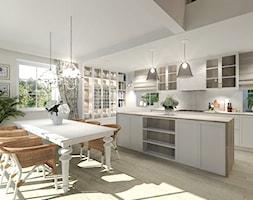 Wiejski dom dla miłośniczki kwiatów - Duża beżowa jadalnia w kuchni, styl klasyczny - zdjęcie od Agata Hann Architektura Wnętrz - Homebook
