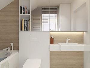 Dom w zabudowie bliźniaczej w Słupsku - Mała biała łazienka na poddaszu w domu jednorodzinnym z oknem, styl nowoczesny - zdjęcie od Agata Hann Architektura Wnętrz