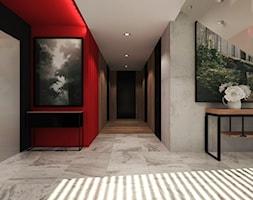 Duży czarny szary czerwony hol / przedpokój - zdjęcie od Agata Hann Architektura Wnętrz