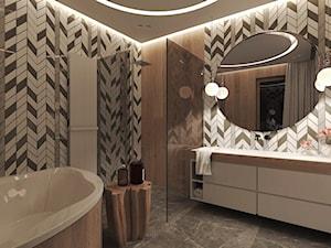 Dom pod miastem, Słupsk - Średnia kolorowa łazienka na poddaszu w bloku w domu jednorodzinnym bez okna, styl nowoczesny - zdjęcie od Agata Hann Architektura Wnętrz