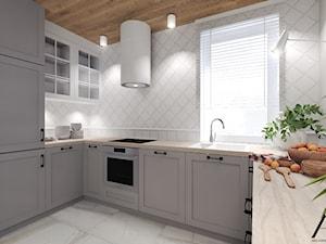 Mieszkanie z wiktoriańskim akcentem - Średnia zamknięta biała kuchnia w kształcie litery u z oknem, styl klasyczny - zdjęcie od Agata Hann Architektura Wnętrz