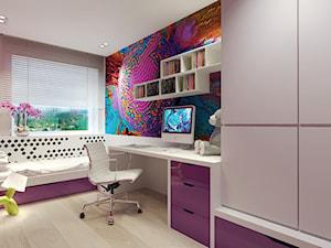 Średni biały różowy fioletowy pokój dziecka dla dziewczynki dla ucznia dla nastolatka, styl nowoczesny - zdjęcie od Agata Hann Architektura Wnętrz