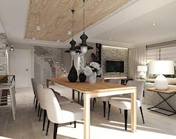 Dom pod Kołobrzegiem w zacisznym miejscu. - Średnia otwarta beżowa jadalnia w salonie, styl rustykalny - zdjęcie od Agata Hann Architektura Wnętrz