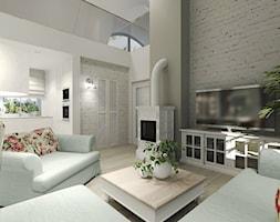 Wiejski dom dla miłośniczki kwiatów - Średni szary biały salon z kuchnią z antresolą, styl klasyczn ... - zdjęcie od Agata Hann Architektura Wnętrz - Homebook