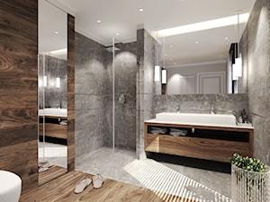 Dom Magdy. - Średnia łazienka jako salon kąpielowy z oknem, styl nowoczesny - zdjęcie od Agata Hann Architektura Wnętrz
