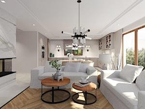 Dom pod miastem, Słupsk - Średni szary biały salon z bibiloteczką z kuchnią z jadalnią, styl tradycyjny - zdjęcie od Agata Hann Architektura Wnętrz
