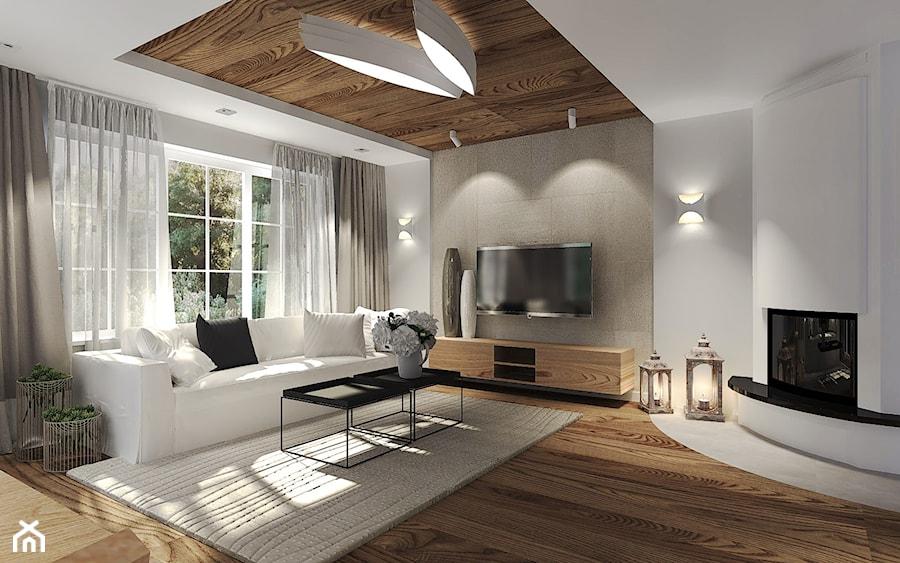 Dom Z Dużą Ilością Drewna Salon Styl Nowoczesny Zdjęcie Od