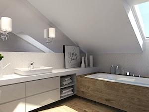 Duża biała szara łazienka na poddaszu, styl nowoczesny - zdjęcie od Agata Hann Architektura Wnętrz