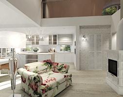 Wiejski dom dla miłośniczki kwiatów - Mały biały brązowy salon z kuchnią z jadalnią z antresolą, styl klasyczny - zdjęcie od Agata Hann Architektura Wnętrz