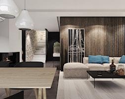 Podmiejski dom nowoczesny - Średni biały czarny salon z jadalnią, styl nowoczesny - zdjęcie od Agata Hann Architektura Wnętrz