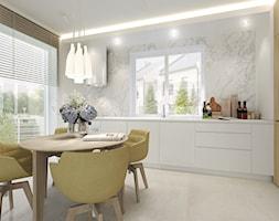 Dom w zabudowie bliźniaczej w Słupsku - Średnia otwarta biała jadalnia w kuchni, styl nowoczesny - zdjęcie od Agata Hann Architektura Wnętrz