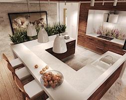 Duża otwarta kuchnia w kształcie litery u z wyspą, styl rustykalny - zdjęcie od Agata Hann Architektura Wnętrz