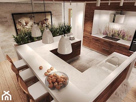 Aranżacje wnętrz - Kuchnia: Duża otwarta biała kolorowa kuchnia w kształcie litery u z wyspą, styl rustykalny - Agata Hann Architektura Wnętrz. Przeglądaj, dodawaj i zapisuj najlepsze zdjęcia, pomysły i inspiracje designerskie. W bazie mamy już prawie milion fotografii!
