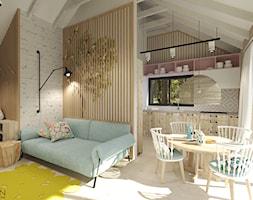 Dom letniskowy na wynajem - Mały biały salon z kuchnią z jadalnią z tarasem / balkonem, styl skandynawski - zdjęcie od Agata Hann Architektura Wnętrz