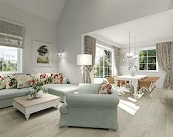 Wiejski dom dla miłośniczki kwiatów - Średni szary biały salon z kuchnią z jadalnią, styl klasyczny - zdjęcie od Agata Hann Architektura Wnętrz - Homebook