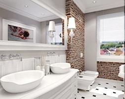 Łazienka retro - Duża brązowa szara łazienka, styl eklektyczny - zdjęcie od Agata Hann Architektura Wnętrz