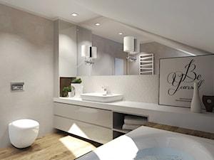 Duża szara łazienka na poddaszu, styl nowoczesny - zdjęcie od Agata Hann Architektura Wnętrz