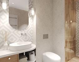 Mieszkanie na wynajem krótkoterminowy - Mała szara łazienka na poddaszu w bloku w domu jednorodzinnym bez okna, styl nowoczesny - zdjęcie od Agata Hann Architektura Wnętrz