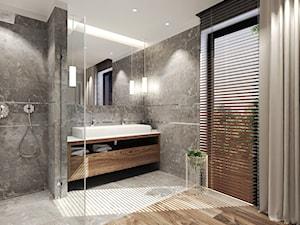 Dom Magdy. - Duża biała szara łazienka jako salon kąpielowy z oknem, styl nowoczesny - zdjęcie od Agata Hann Architektura Wnętrz