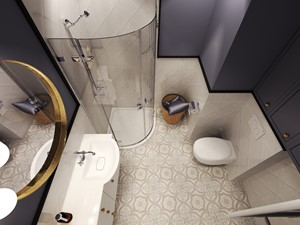 Mieszkanie z wiktoriańskim akcentem - Średnia czarna łazienka w bloku w domu jednorodzinnym bez okna, styl klasyczny - zdjęcie od Agata Hann Architektura Wnętrz