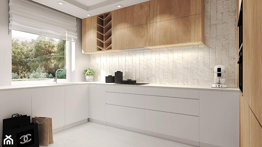 Mieszkanie z miedzianymi dodatkami  Średnia otwarta kuchnia w kształcie lit   -> Projekt Kuchni Agata Meble