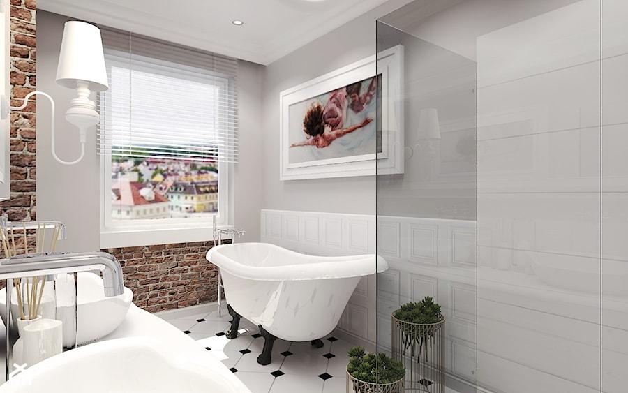 Łazienka retro - Średnia szara łazienka jako salon kąpielowy z oknem, styl eklektyczny - zdjęcie od Agata Hann Architektura Wnętrz