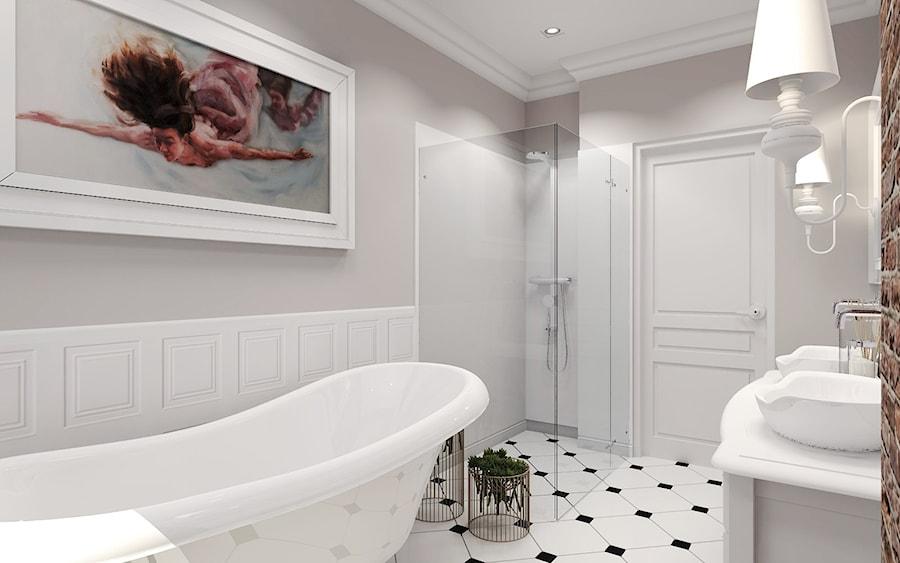Łazienka retro - Średnia szara łazienka w domu jednorodzinnym bez okna, styl eklektyczny - zdjęcie od Agata Hann Architektura Wnętrz