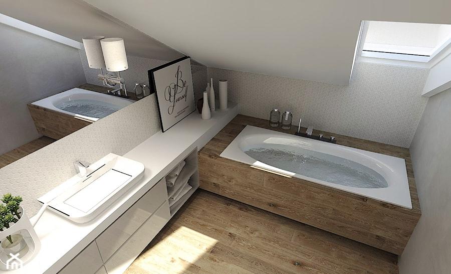 Średnia biała beżowa szara łazienka na poddaszu, styl nowoczesny - zdjęcie od Agata Hann Architektura Wnętrz
