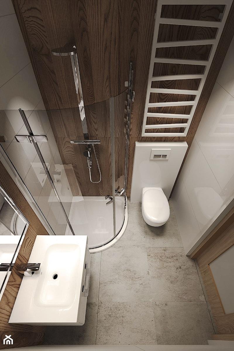 Dom z dużą ilością drewna. - Mała beżowa brązowa łazienka w bloku bez okna, styl nowoczesny - zdjęcie od Agata Hann Architektura Wnętrz