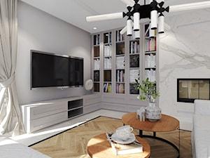Dom pod miastem, Słupsk - Średni biały salon z bibiloteczką, styl tradycyjny - zdjęcie od Agata Hann Architektura Wnętrz