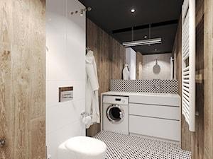 Duża biała łazienka na poddaszu w bloku w domu jednorodzinnym bez okna, styl industrialny - zdjęcie od Agata Hann Architektura Wnętrz