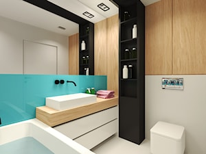 Średnia biała turkusowa łazienka w bloku bez okna, styl nowoczesny - zdjęcie od Agata Hann Architektura Wnętrz