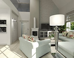 Wiejski dom dla miłośniczki kwiatów - Średni biały salon z kuchnią z antresolą, styl klasyczny - zdjęcie od Agata Hann Architektura Wnętrz - Homebook