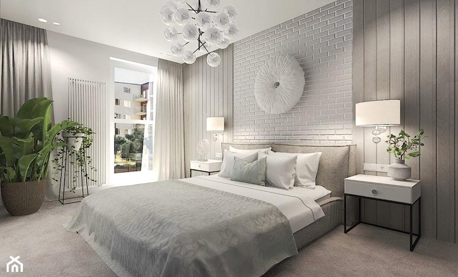 Mieszkanie w Słupsku w zabudowie szeregowej - Duża biała sypialnia małżeńska z balkonem / tarasem, styl skandynawski - zdjęcie od Agata Hann Architektura Wnętrz