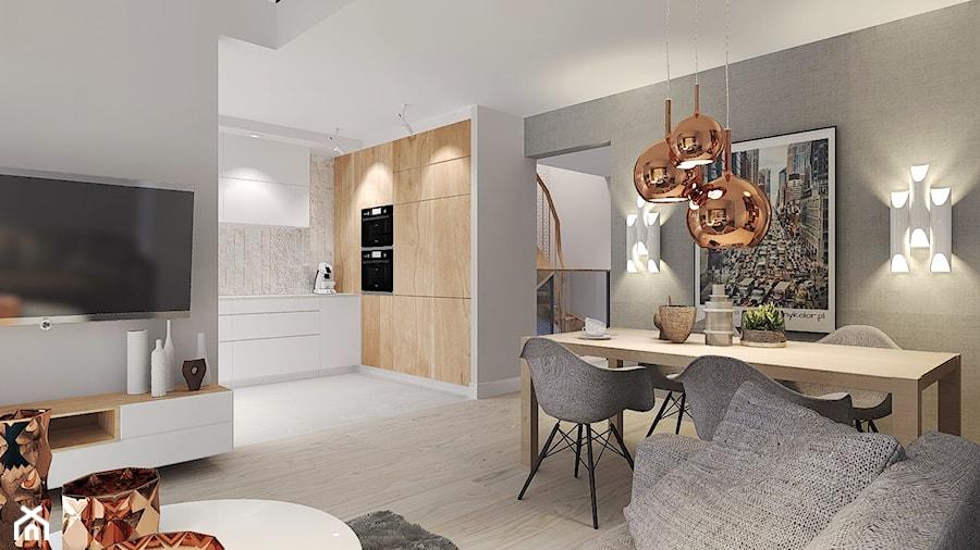 Mieszkanie z miedzianymi dodatkami. - Średnia otwarta biała szara jadalnia w salonie, styl nowoczesny - zdjęcie od Agata Hann Architektura Wnętrz