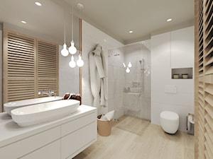 Mieszkanie w Słupsku w zabudowie szeregowej - Średnia biała łazienka na poddaszu w bloku w domu jednorodzinnym bez okna, styl skandynawski - zdjęcie od Agata Hann Architektura Wnętrz