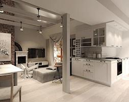 Duży brązowy salon z kuchnią z jadalnią, styl rustykalny - zdjęcie od Agata Hann Architektura Wnętrz