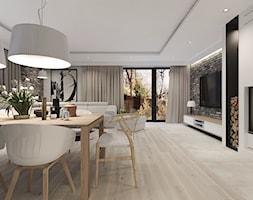 Duży biały salon z jadalnią, styl vintage - zdjęcie od Agata Hann Architektura Wnętrz