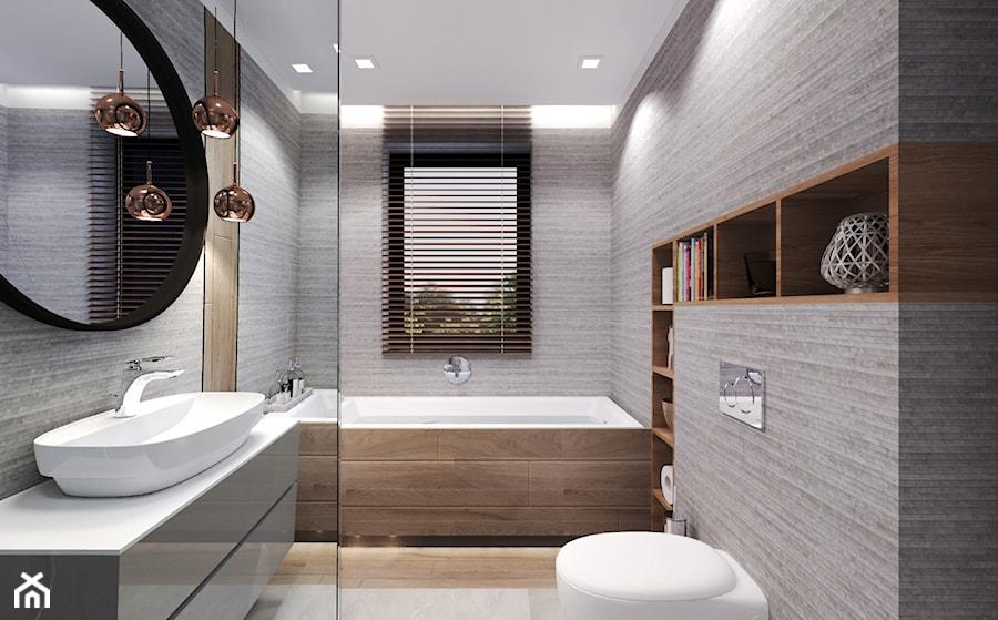 Dom Magdy. - Średnia szara łazienka w bloku w domu jednorodzinnym z oknem, styl nowoczesny - zdjęcie od Agata Hann Architektura Wnętrz