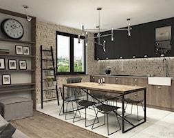 suspenzo_no.23 - Średnia otwarta beżowa jadalnia w kuchni, styl industrialny - zdjęcie od suspenzo architectural group