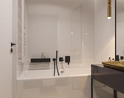 suspenzo_no.26 - Mała biała łazienka w bloku w domu jednorodzinnym bez okna, styl nowoczesny - zdjęcie od suspenzo architectural group - Homebook
