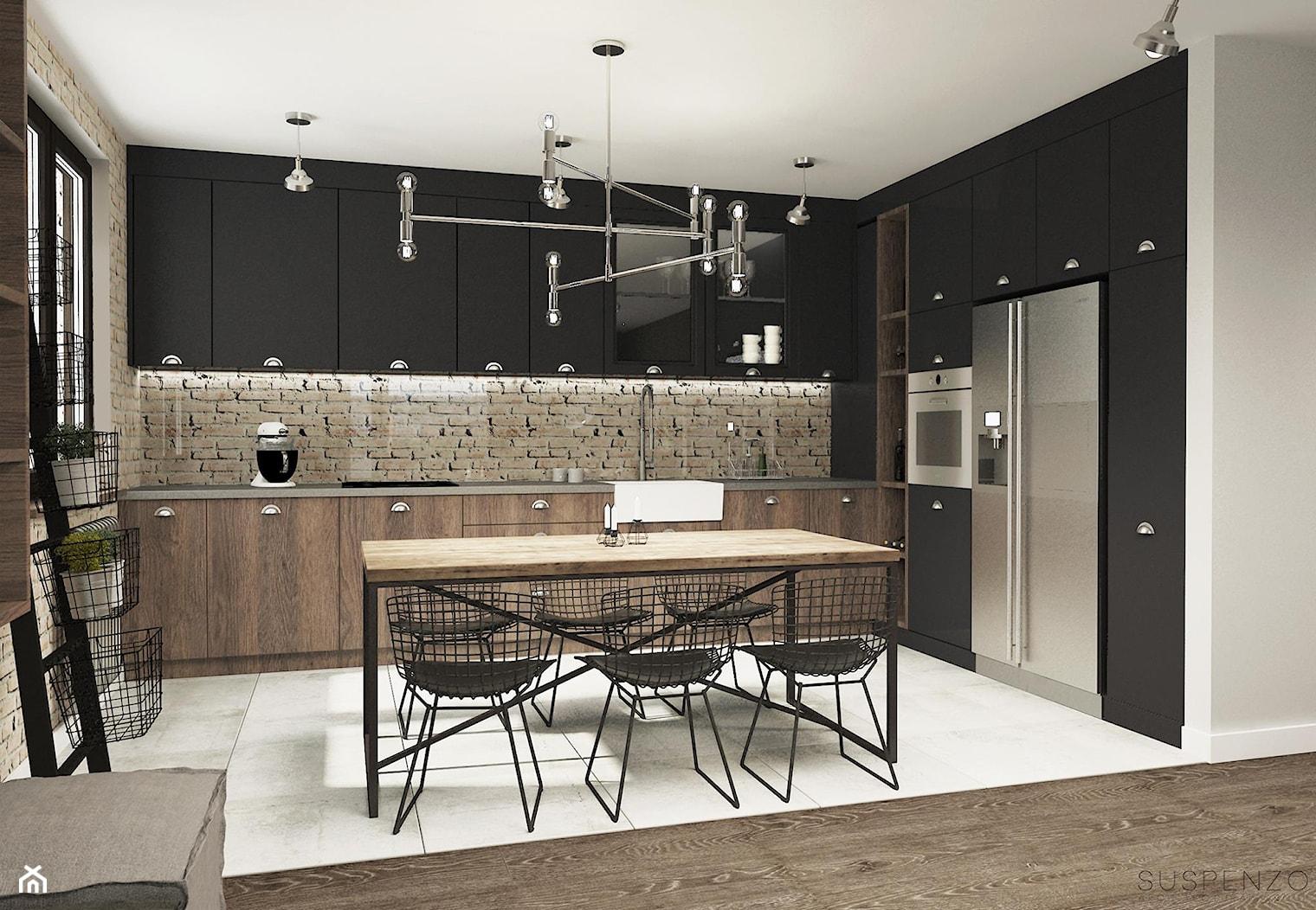 suspenzo_no.23 - Duża otwarta beżowa czarna kuchnia w kształcie litery l w aneksie, styl industrialny - zdjęcie od suspenzo architectural group - Homebook