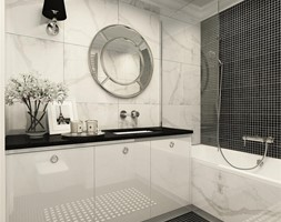 suspenzo_no.25 - Mała czarna szara łazienka na poddaszu w bloku w domu jednorodzinnym bez okna, styl klasyczny - zdjęcie od suspenzo architectural group - Homebook
