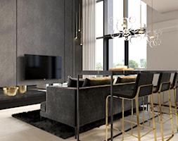suspenzo_no.26 - Duży szary czarny salon z jadalnią, styl nowoczesny - zdjęcie od suspenzo architectural group - Homebook