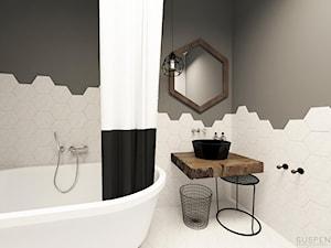 suspenzo_no.23 - Średnia biała szara łazienka w bloku w domu jednorodzinnym bez okna, styl industrialny - zdjęcie od suspenzo architectural group