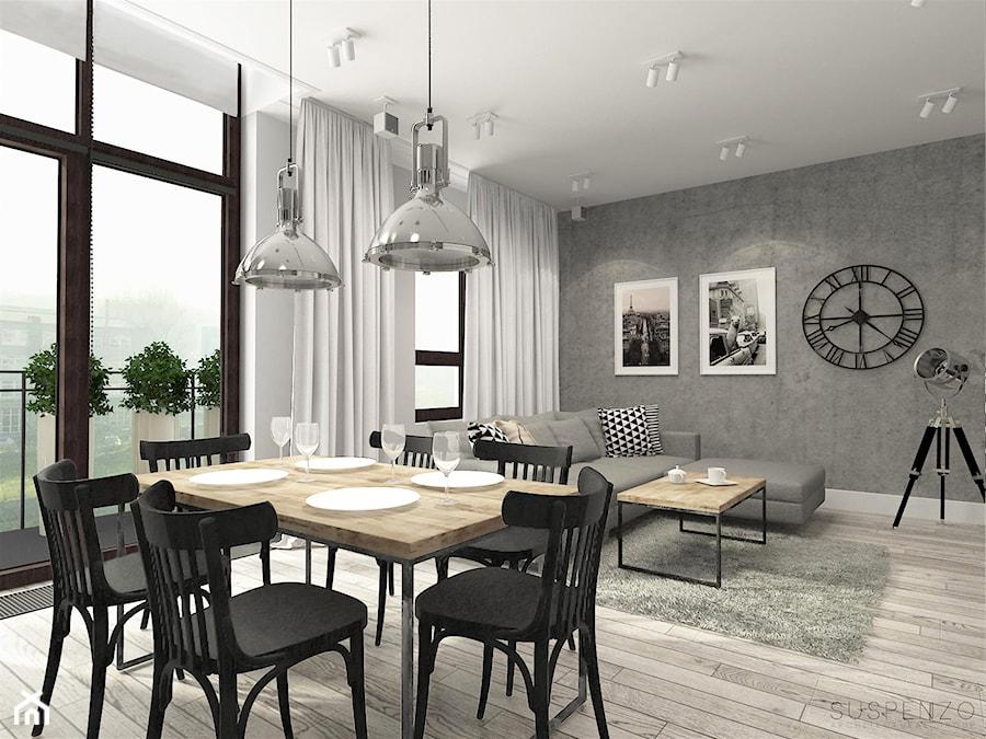 suspenzo_no.22 - Duży szary salon z jadalnią z tarasem / balkonem, styl industrialny - zdjęcie od suspenzo architectural group