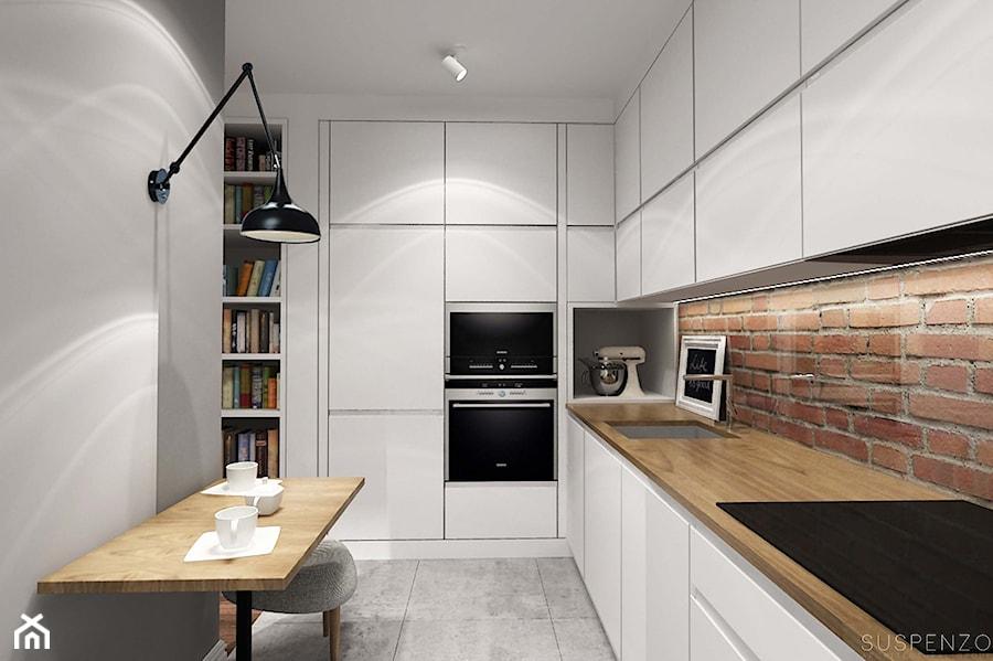 suspenzo_no.13 - Średnia otwarta czerwona kuchnia w kształcie litery l, styl industrialny - zdjęcie od suspenzo architectural group