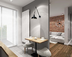 suspenzo_no.13 - Mała otwarta biała szara jadalnia w kuchni, styl industrialny - zdjęcie od suspenzo architectural group