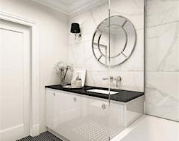 suspenzo_no.25 - Mała szara łazienka na poddaszu w bloku w domu jednorodzinnym bez okna, styl klasyczny - zdjęcie od suspenzo architectural group - Homebook