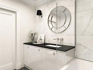 suspenzo_no.25 - Mała szara łazienka na poddaszu w bloku w domu jednorodzinnym bez okna, styl klasyczny - zdjęcie od suspenzo architectural group